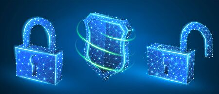 Lock, shield, unlock symbol abstract set. Low poly, wireframe, digital 3d vector illustration. Security, password, privacy protection concept, image on blue neon background. Abstract polygonal sign