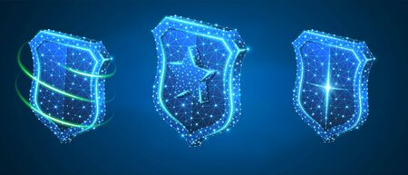 Shield with a star, abstract safety set. Low poly, wireframe digital 3d vector illustration. Security, password, privacy protection concept, image on blue neon background. Abstract polygonal sign