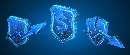 Security shield with USD, growth and downtrend arrow symbols set. Low poly, wireframe, digital 3d vector illustration. Abstract polygonal Money protection concept, image on blue neon background