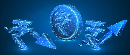 Rupee Golden Coin, growth and downtrend arrow symbols set. Low poly, wireframe, digital 3d vector illustration. Abstract polygonal Indian Money flow concept, image on blue neon background
