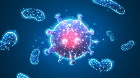 Virus cell. Immunology, new strain epidemic, infection pathogen concept. Abstract polygonal image on blue neon background. Low poly, wireframe, digital 3d vector illustration