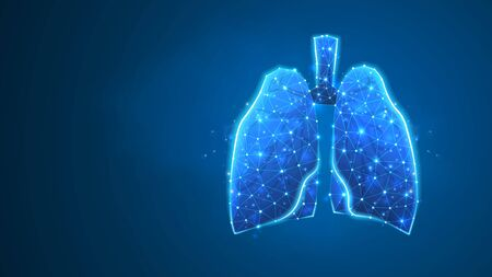 Human Lungs. Organ anatomy, biological air filter, healthy body concept. Polygonal image on blue neon background. Low poly, wireframe digital 3d vector illustration. Abstract art 矢量图像