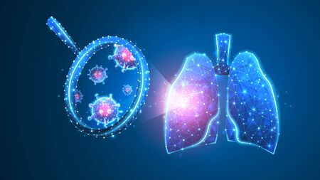 Lungs Virus-cell exploration. Epidemic strain research, pneumonia or respiratory pathogen concept. Abstract polygonal image on blue neon background. Low poly, wireframe digital 3d vector illustration
