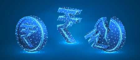 Set of Rupee Coins with symbols. Low poly, wireframe, digital 3d vector illustration. Abstract polygonal Indian money growth and downtrend concept, image on blue neon background