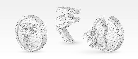 Set of Rupee Coins with symbols. Abstract polygonal Indian money growth and downtrend concept, image on white origami background. Low poly, wireframe, digital 3d vector illustration