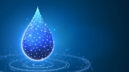 Water Drop, clean droplet of water with lines. Liquid concept. Abstract polygonal image on blue neon background. Low poly, wireframe digital 3d vector illustration 矢量图像