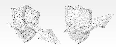 Set of shields with growth and downtrend arrows on it. Low poly, wireframe 3d vector illustration. Protection of the money flow, concept art. Abstract polygonal image on a white origami background