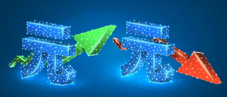 Yuan symbol, arrows set, green growth, and red downtrend. Low poly, wireframe 3d vector illustration. Chinese currency and money flow concept. Abstract polygonal image on blue neon background