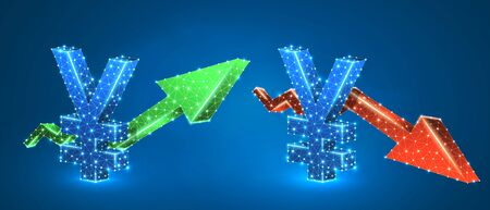 Yen symbol, arrows set, green growth, and red downtrend. Low poly, wireframe 3d vector illustration. Japanese currency and money flow concept. Abstract polygonal image on blue neon background