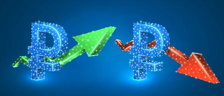 Ruble symbol, arrows set, green growth, and red downtrend. Low poly, wireframe 3d vector illustration. Russian currency and money flow concept. Abstract polygonal image on blue neon background