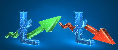 Litecoin symbol, set of arrows, green growth, and red downtrend. Low poly, wireframe 3d vector illustration. Online trading and crypto flow concept. Abstract polygonal image on blue neon background