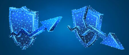 Set of Security shields, arrows of growth and downtrend. Money flow protection concept art. Low poly, wireframe digital 3d vector illustration. Abstract polygonal image on a blue neon background