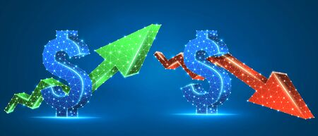 Set of USD dollar arrows, green growth, and red downtrend. Low poly, wireframe 3d vector illustration. International currency and money flow concept. Abstract polygonal image on blue neon background