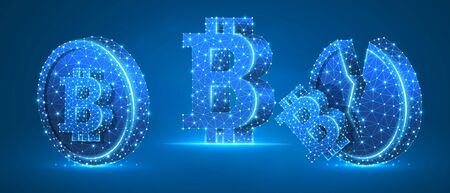 Set of Bitcoin symbols. Currency growth and downtrend concept art. Blank and broken coins. Low poly, wireframe digital 3d vector illustration. Abstract polygonal image on blue neon background 矢量图像