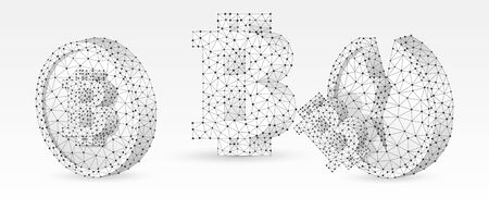 Set of Bitcoin symbols. Money digitalization. Market growth and downtrend concept. Blank, broken coins. Low poly, wireframe 3d vector illustration. Abstract polygonal image on white origami background