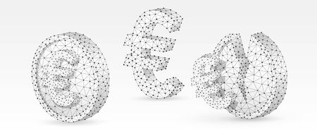 Set of Euro symbols. Concept of money growth and downtrend on blank and broken coins. Low poly, wireframe digital 3d vector illustration. Abstract polygonal image on white origami background