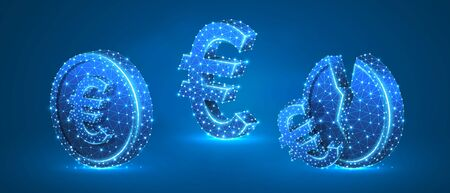Set of Euro Coins. Money growth and downtrend concept. Blank and broken coins. Low poly, wireframe digital 3d vector illustration. Abstract polygonal image on blue neon background