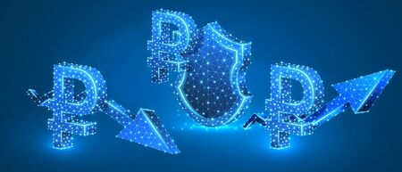 Set of Russian Ruble symbols, security shield, growth and downtrend arrows. Money tendency and protection. Low poly, wireframe 3d vector illustration. Abstract polygonal image on blue neon background