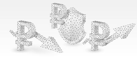 Set of Russian Ruble symbols. Money tendency, capital protection with arrows of growth and downtrend. Low poly, wireframe 3d vector illustration. Abstract polygonal image on white origami background 矢量图像