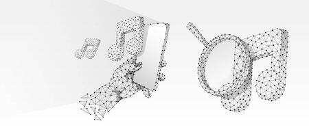 Magnifying glass on a music note, Smartphone in a hand. Sound analysis concept, smartphone player. Low poly, wireframe 3d vector illustration. Abstract polygonal image on white origami background