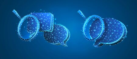 Set of Chat bubbles with magnifying glass. Communication analysis, Dialogue cloud concept. Low poly, wireframe 3d vector illustration. Abstract polygonal image on blue neon background