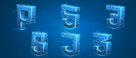 Set of coding language symbols. Hypertext Markup, Personal Home Page, Cascading Style Sheets, JavaScript. Low poly, wireframe 3d vector illustration. Abstract polygonal image on blue neon background 矢量图像
