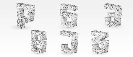 Programming symbols Set. Hypertext Markup, Personal Home Page, Cascading Style Sheets, JavaScript symbols. Low poly, wireframe 3d vector illustration. Abstract polygonal image on white origami bg