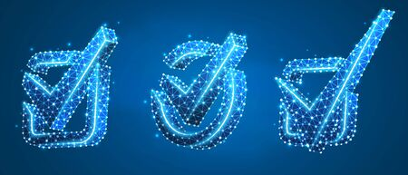 Set of Checkmark symbols, square and circle boxes. Success, business agreement, ok sign, approval concept. Low poly, wireframe 3d vector illustration. Abstract polygonal image on blue neon background Stock Illustratie