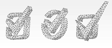 Set of Checkmark symbols, square and circle boxes. Success, business agreement, ok sign, approval concept. Low poly, wireframe 3d vector illustration. Abstract polygonal image on white origami bg