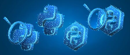 Set of Python coding language signs, with magnifying glass. Programming, developing concept. Low poly, wireframe 3d vector illustration. Abstract polygonal image on blue neon background  イラスト・ベクター素材