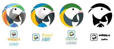 Parrot or macaw colorful vector set of logotypes, four logo illustrations of an exotic bird