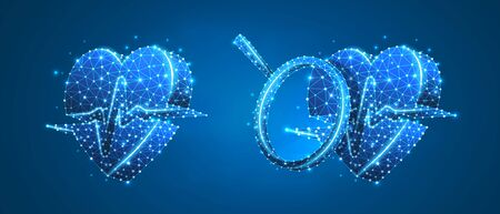 Set of Hearts with pulse lines and magnifying glass. Technology concept of healthcare, cardio check. Low poly, wireframe 3d vector illustration. Abstract polygonal image on blue neon background