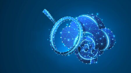 Email, Cloud Storage with a magnifying glass. Data access analysis, mailing database, internet server. Low poly, wireframe 3d vector illustration. Abstract polygonal image on blue neon background