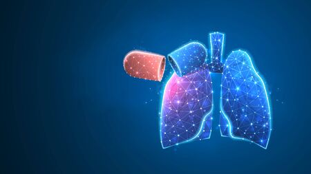 Human Lungs with Virus-cell. Epidemic strain, pneumonia or respiratory pathogen concept. Abstract polygonal image on blue neon background. Low poly, wireframe digital 3d vector illustration 矢量图像