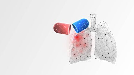 Human Lungs virus treatment. Capsule with medicaments, epidemic disease vaccine concept. Low poly, wireframe 3d vector illustration. Abstract polygonal image on white origami background 矢量图像