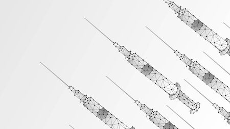 Vaccination. Syringe banner or template. Health care, concept of medical treatment. Low poly, wireframe 3d vector illustration. Abstract polygonal image on white origami background 矢量图像