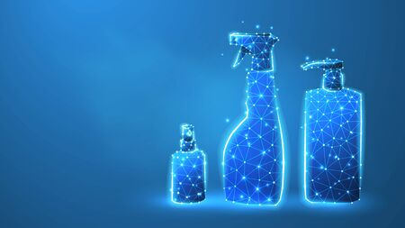 Hand sanitizer bottles set. Antibacterial spray, hygienic liquid, disinfection gel. Low poly, wireframe 3d vector illustration. Abstract polygonal image on blue neon background