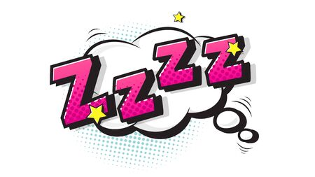 Lettering zzz, sleep. Halftone expression text on a Comic cloud bubble. Vector illustration of a bright and dynamic cartoonish image in retro pop art style isolated on white background