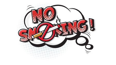 No Smoking expression text on a Comic bubble with halftone. Vector illustration of a bright and dynamic cartoonish img in retro pop art style isolated on white background Çizim