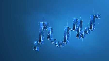 Stock market chart. Growing financial index. Low poly, wireframe 3d vector illustration. Abstract, polygonal image on blue neon background