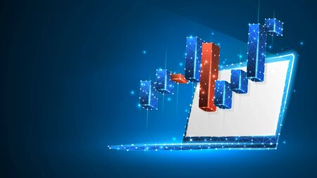 Stock market chart on white laptop screen. Growing financial index. Low poly, wireframe 3d vector illustration. Abstract, polygonal image on blue neon background