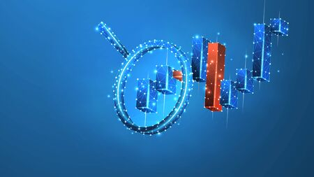 Magnifying glass on the Stock market chart. Growing financial index analysis. Low poly, wireframe 3d vector illustration. Abstract, polygonal image on blue neon background