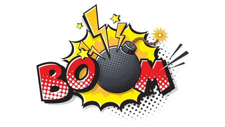 BOOM expression text. Bomb bubble in pop art style. Comic vector illustration of a bright and dynamic cartoonish dynamite img in retro style isolated on white background Çizim