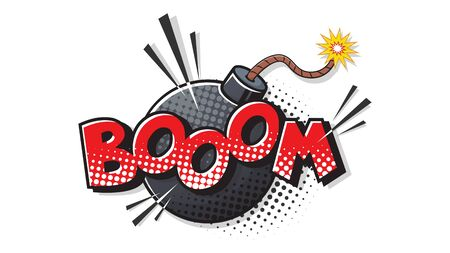 Boom expression text. Bomb bubble in pop art style. Comic vector illustration of a bright and dynamic cartoonish dynamite img in retro style isolated on white background