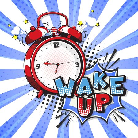 Comic alarm clock and expression speech bubble with wake up text. Vector illustration of a colorful and dynamic cartoon in retro pop art style on halftone background Çizim