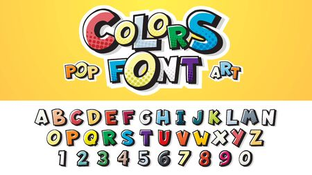 Set of Comic font letters. English alphabet for childrens booklets, posters in a cartoonish style. Vector illustration of a colorful font in retro pop art style on halftone background Çizim