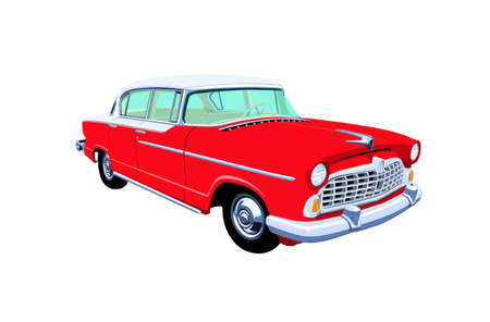 car grill: A drawing of a red and white 1950s 4 door sedan isolated on a white background
