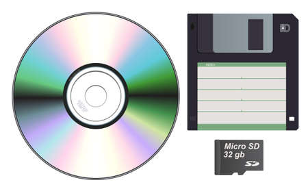 sd card: A set of storage devices cd diskette sd card