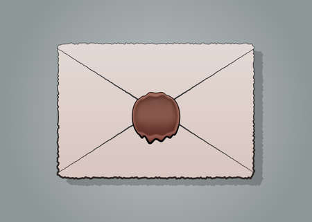 waxseal: mail envelope or letter sealed with wax seal stamp isolated on white