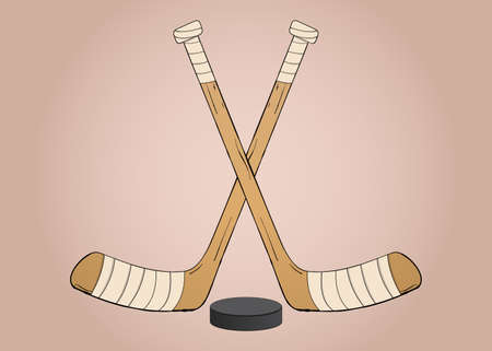 the puck: Crossed Ice hockey sticks with puck illustration